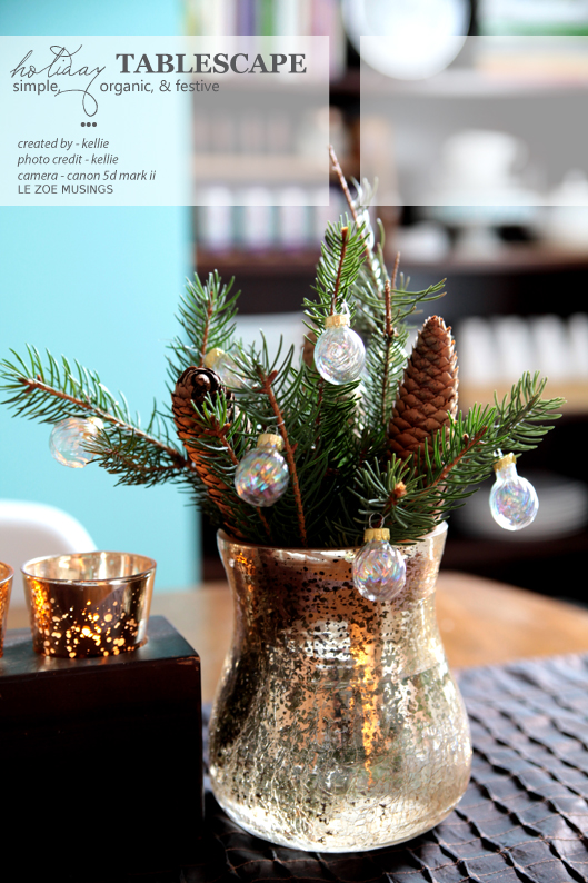 Simple, Organic and Festive Holiday Tablescape | Pine Cone Decorating Ideas For The Holidays
