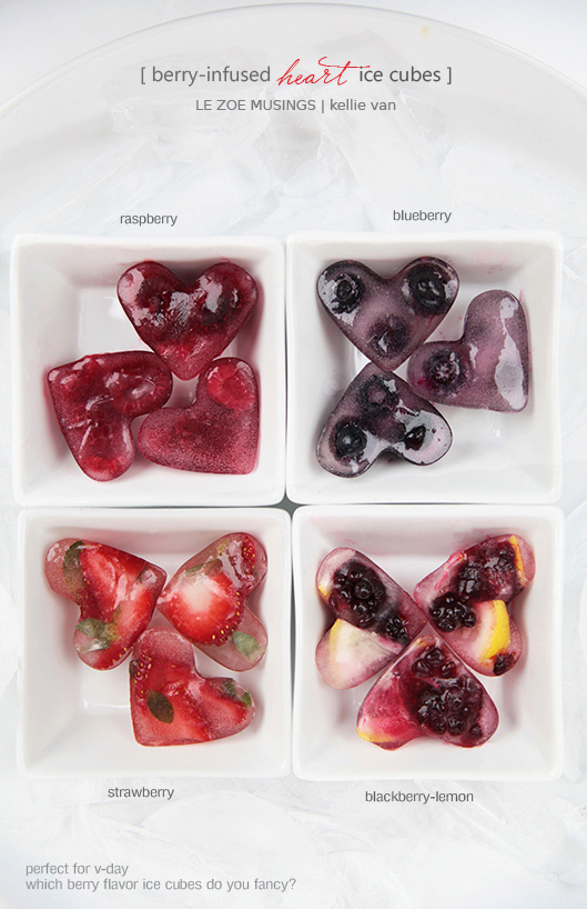 berry infused heart ice cubes