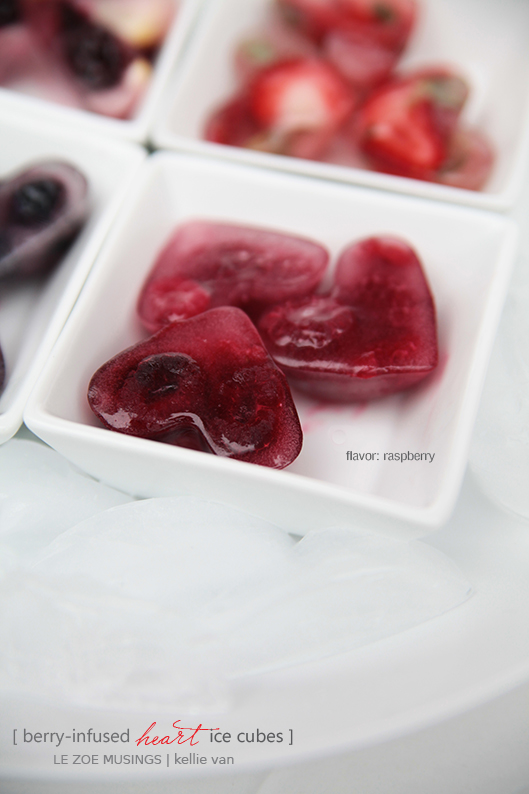 berry infused heart ice cubes5