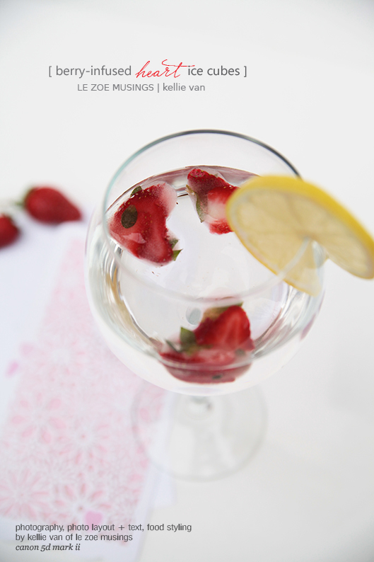 berry infused heart ice cubes7
