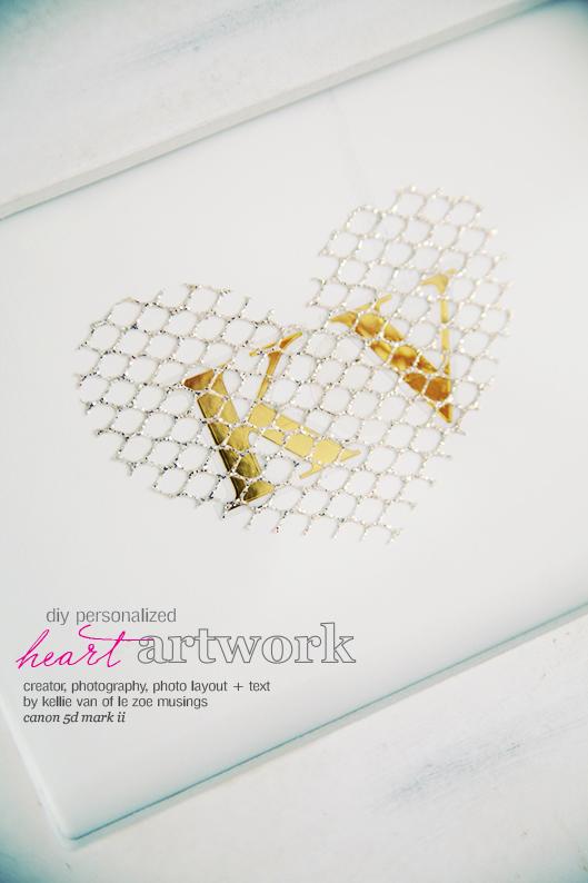 diy personalized heart artwork