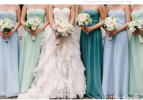 teal wedding party