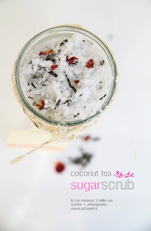 diy coconut tea rose sugar scrub