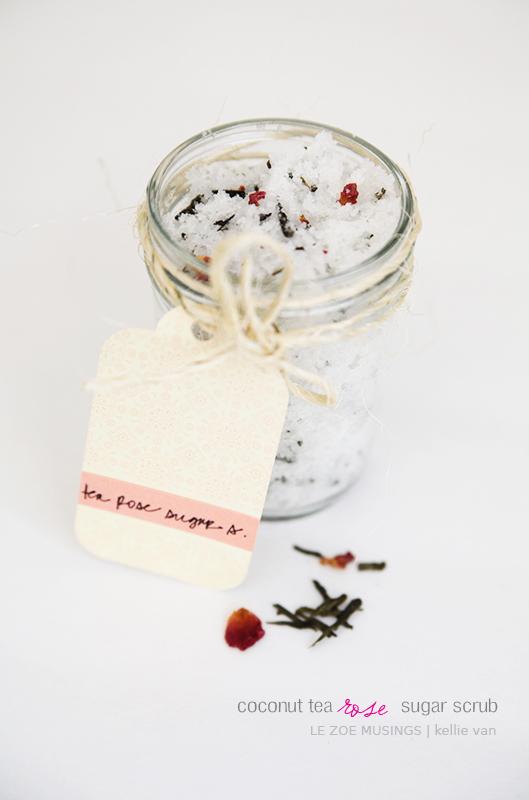 diy coconut tea rose sugar scrub5