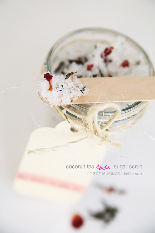 diy coconut tea rose sugar scrub6