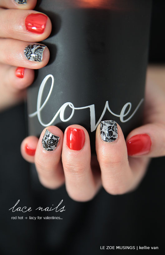 red lace nails