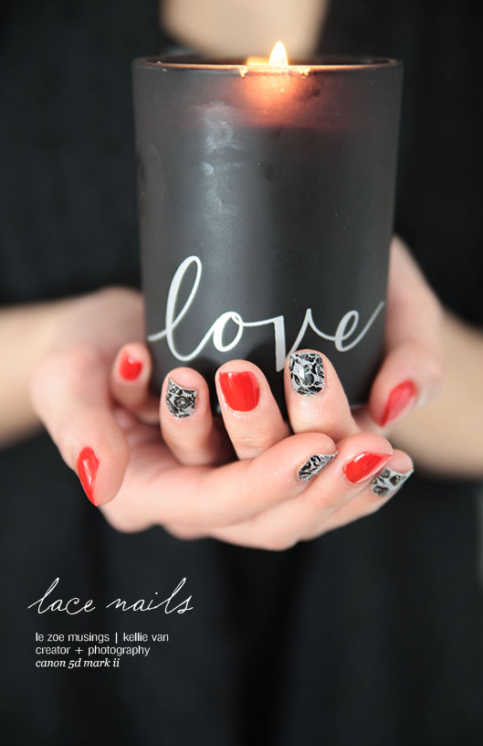 red lace nails2