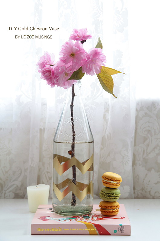 diy gold chevron vase