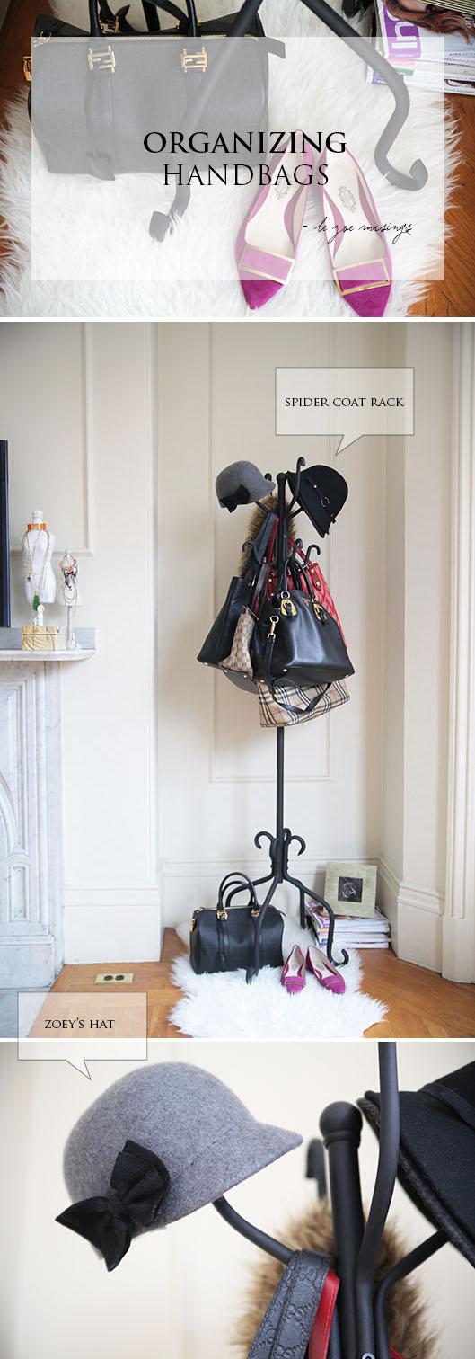 organizing handbags