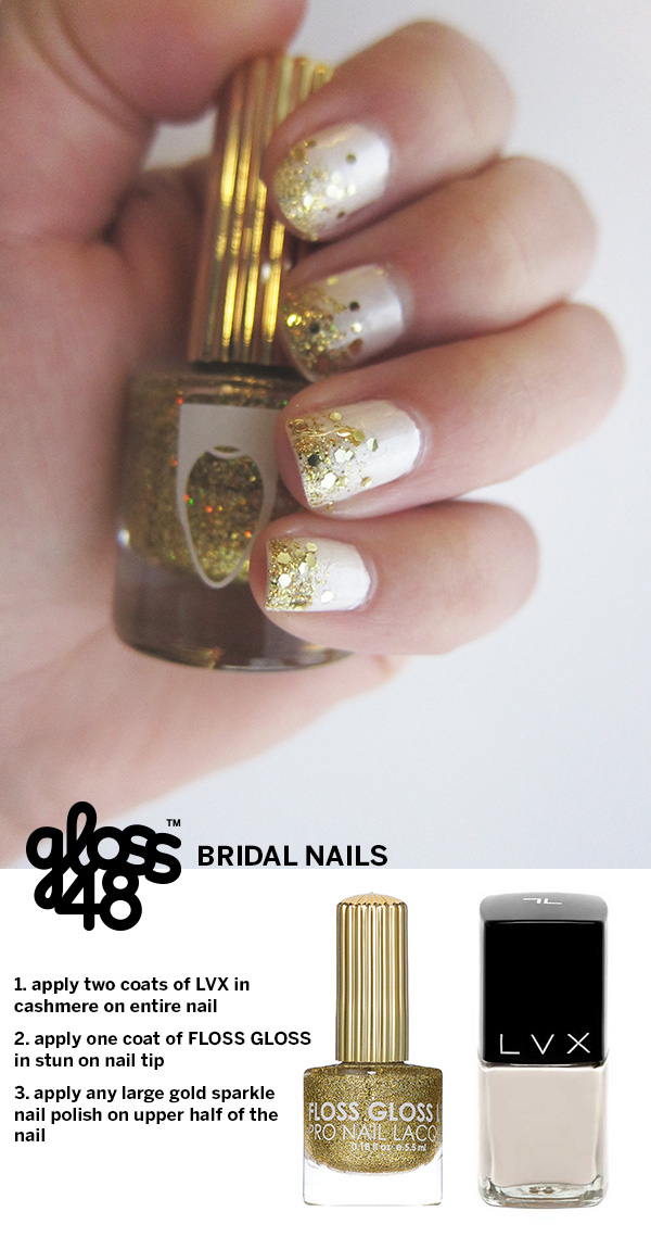 bridal nails gold and white