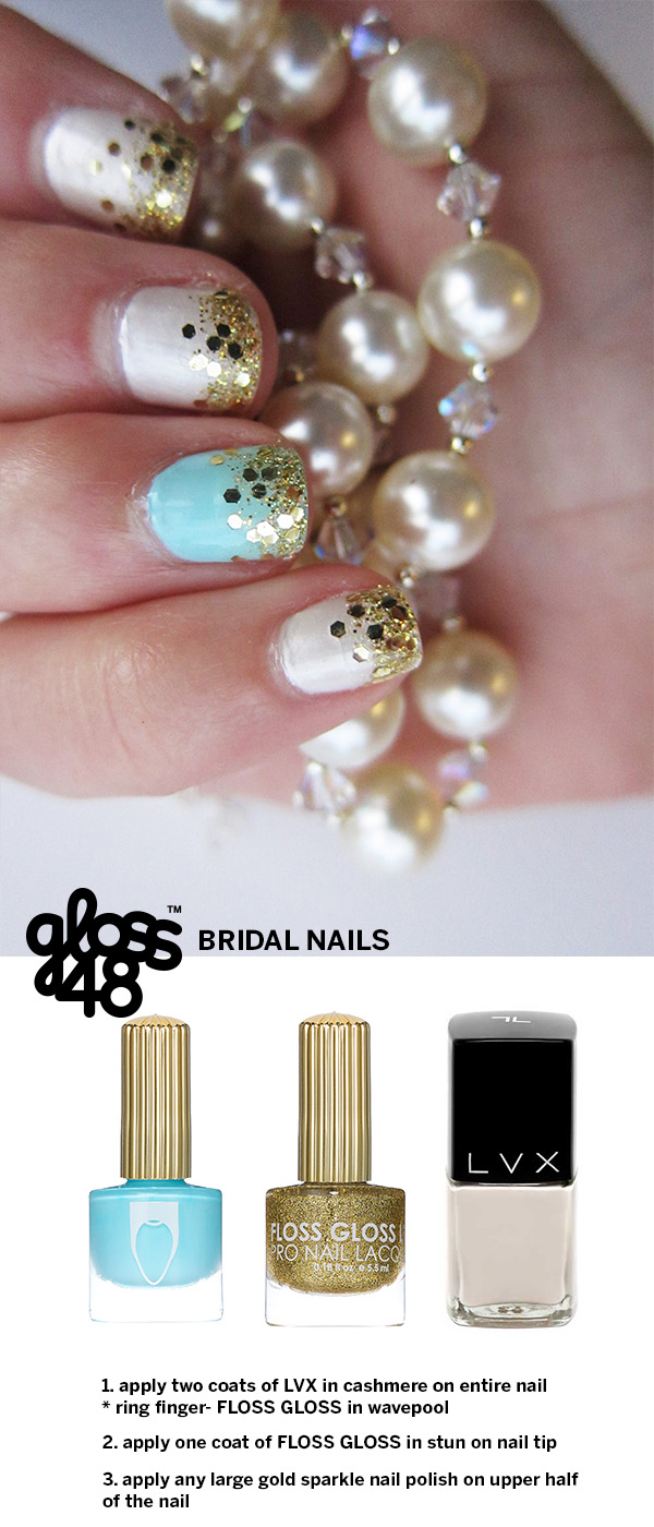 bridal nails gold, white, and blue