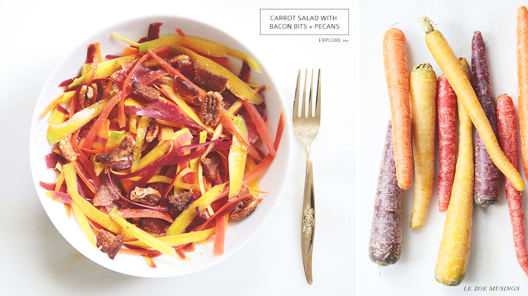Carrot Salad with Bacon Bits + Pecans by Le Zoe Musings Banner