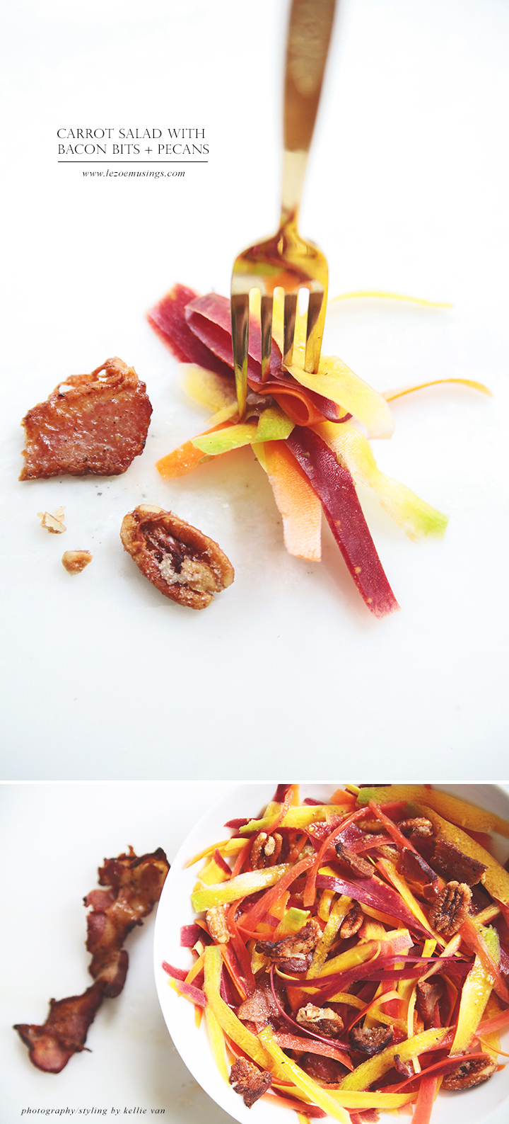 Carrot Salad with Bacon Bits + Pecans by Le Zoe Musings2