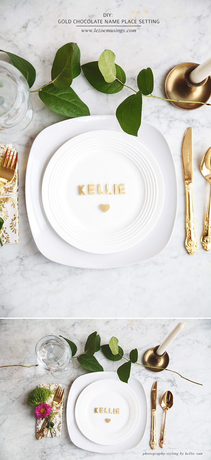 GOLD CHOCOLATE NAME PLACE SETTING_LE ZOE MUSINGS 2