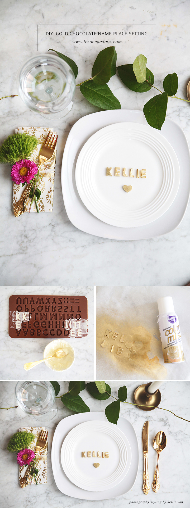 GOLD CHOCOLATE NAME PLACE SETTING_LE ZOE MUSINGS