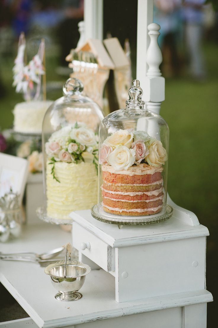 cake in a glass cake stand
