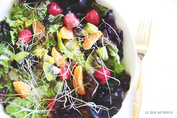 Kiwi raspberry and tangerine salad by Le Zoe Musings 3