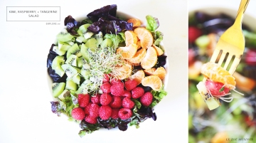 Kiwi raspberry and tangerine salad by Le Zoe Musings Banner