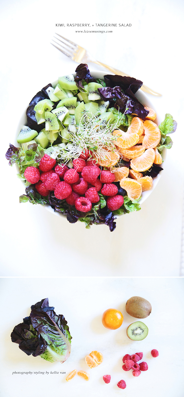 Kiwi raspberry and tangerine salad by Le Zoe Musings