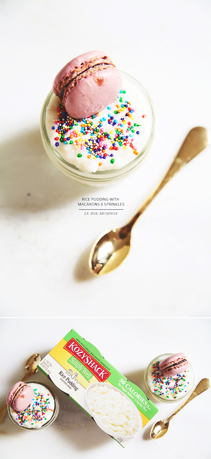 Rice Pudding with Macarons and Sprinkles by Le Zoe Musings
