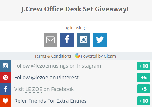 J Crew Desk Set Giveaway