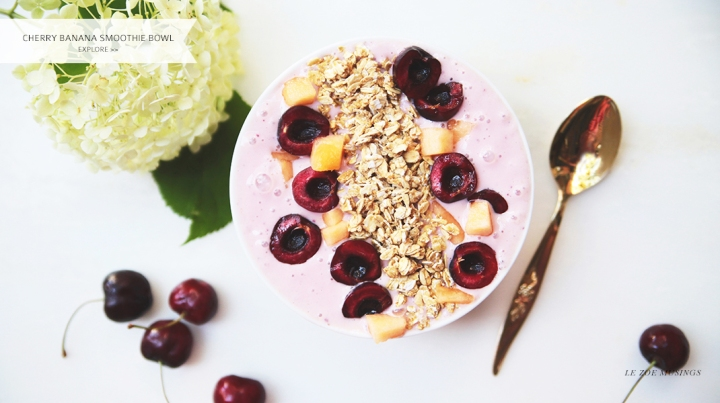 Cherry Banana Smoothie Bowl by Le Zoe Musings Banner