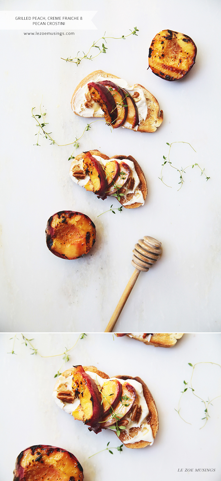 Grilled Peach, Creme Fraiche, and Pecan Crostini by Le Zoe Musings
