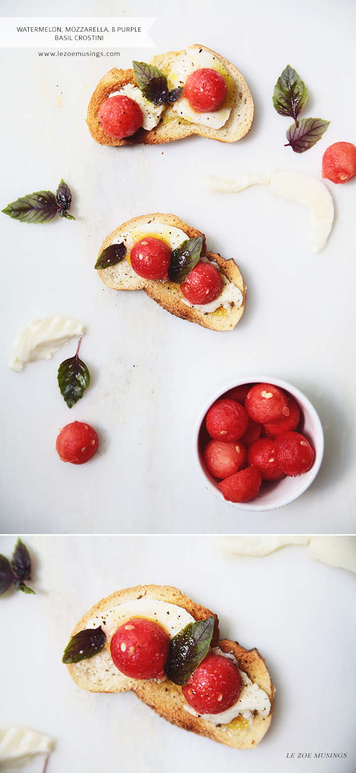 Watermelon, Mozzarella, + Purple Basil Crostini by Le Zoe Musings