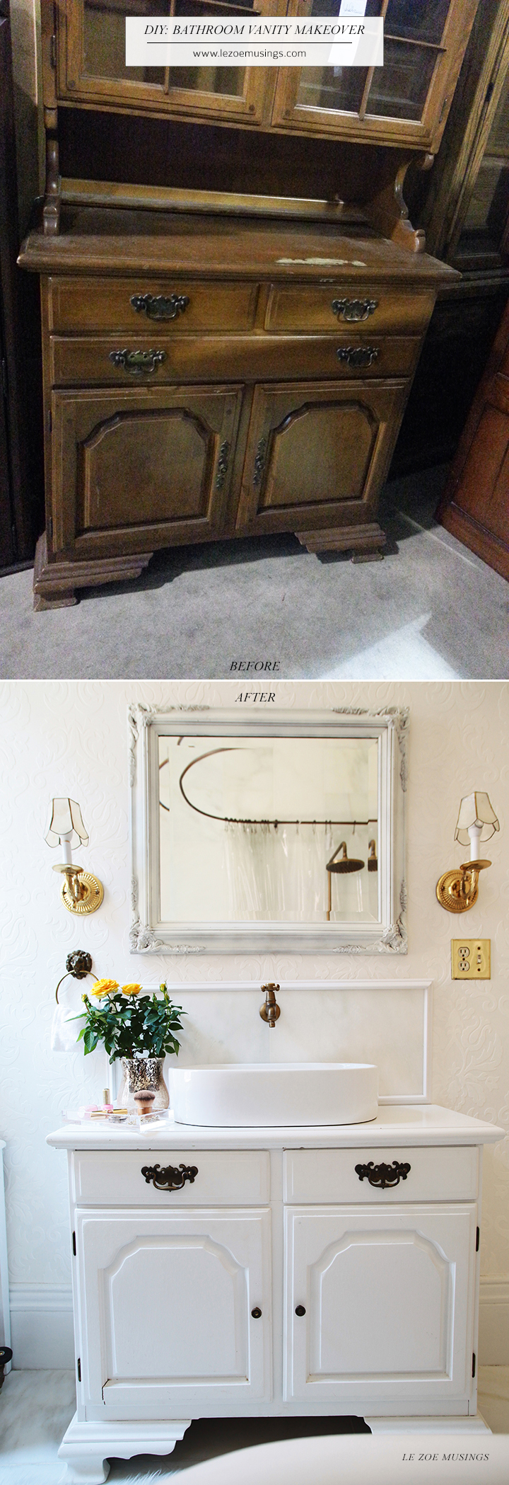 DIY Bathroom Vanity Makeover (using A Thrifted Hutch) By Le Zoe Musings