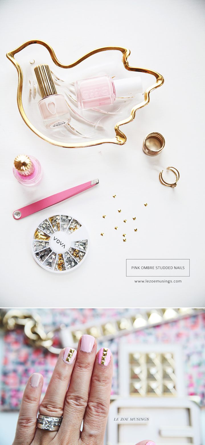 Pink Ombre Gold Studded Nails by Le Zoe Musings 2