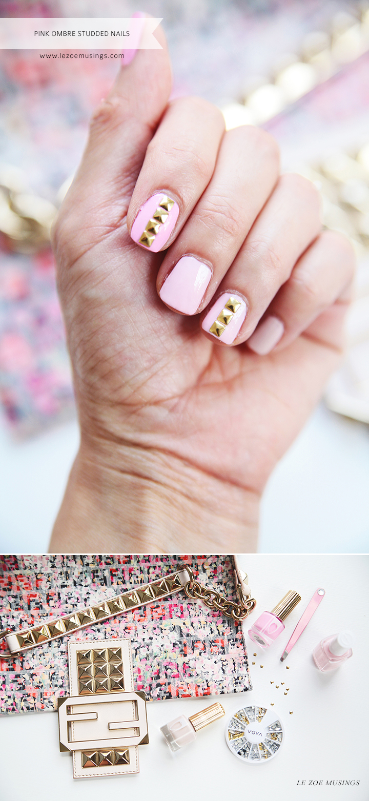 Pink Ombre Gold Studded Nails by Le Zoe Musings