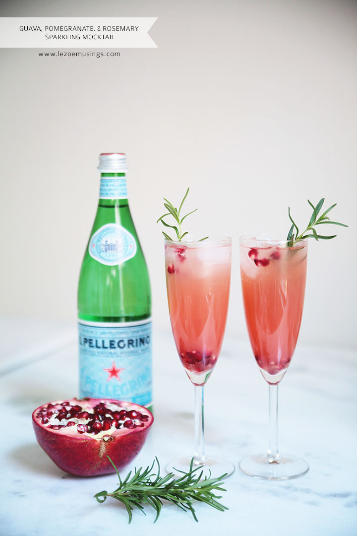 Guava, Pomegranate and Rosemary Sparkling Mocktail by Le Zoe Musings