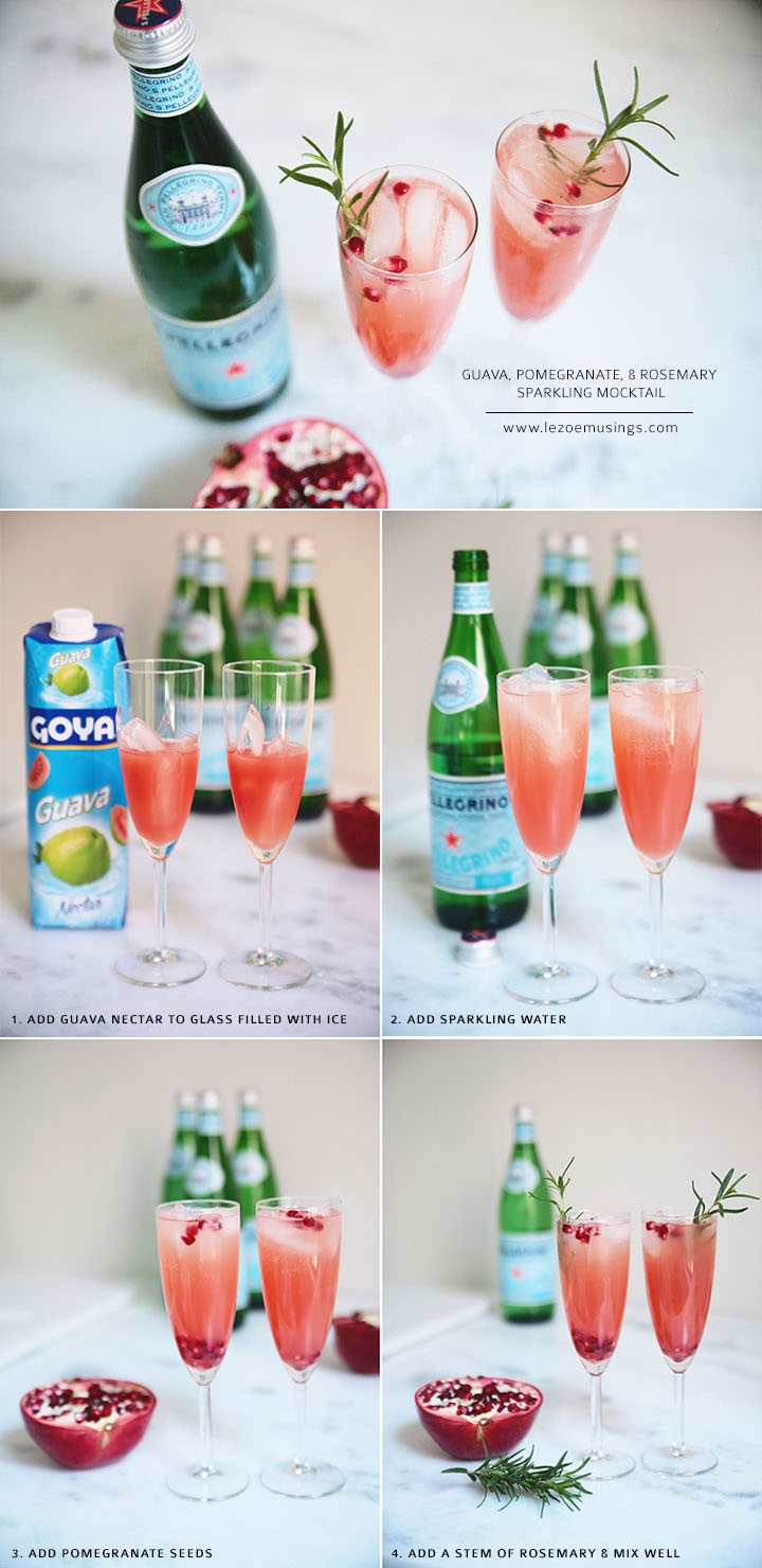 Guava, Pomegranate and Rosemary Sparkling Mocktail by Le Zoe Musings2