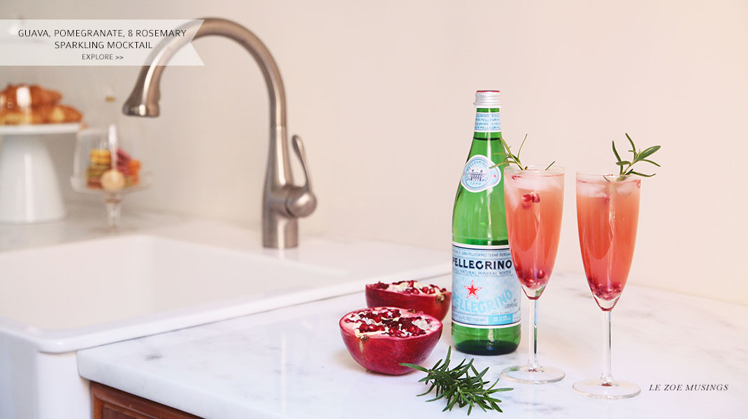 Guava, Pomegranate and Rosemary Sparkling Mocktail by Le Zoe Musings_Banner
