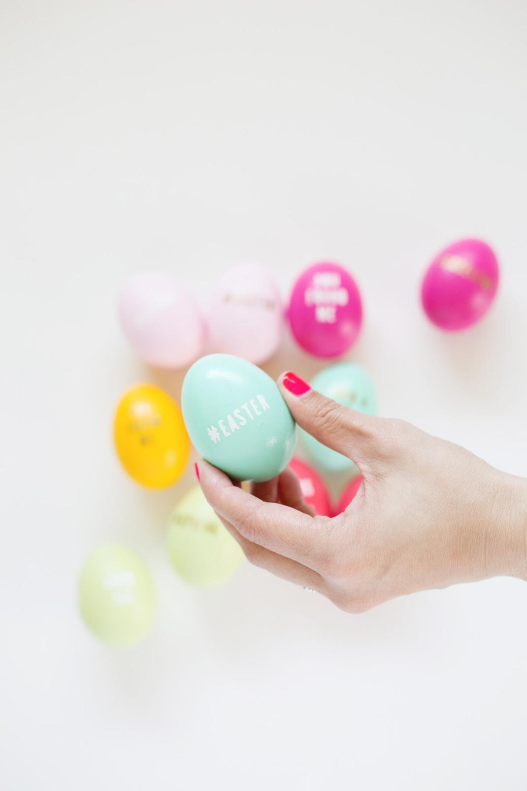 diy gold letter eggs
