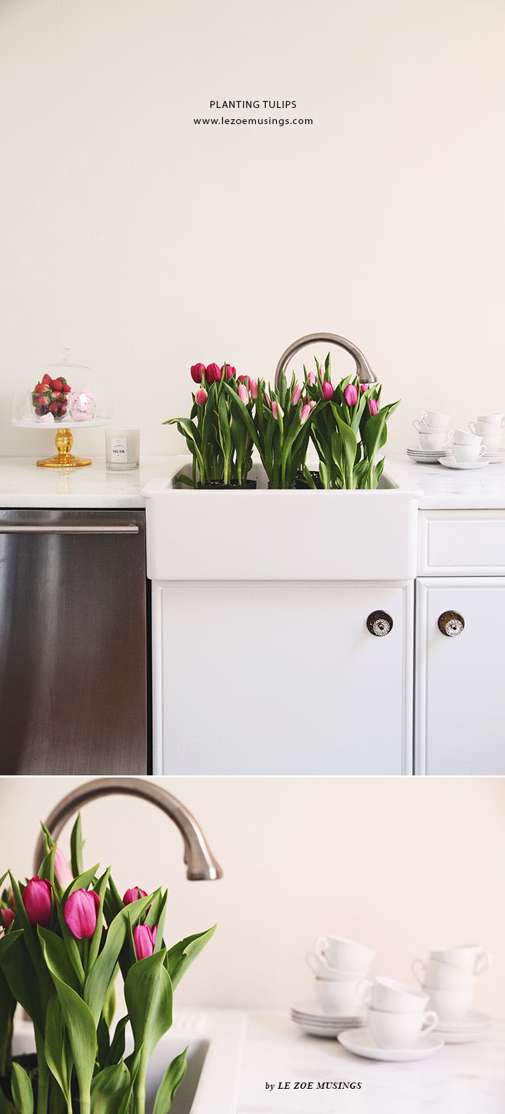 Spring Tulips in a White Kitchen by Le Zoe Musings 3
