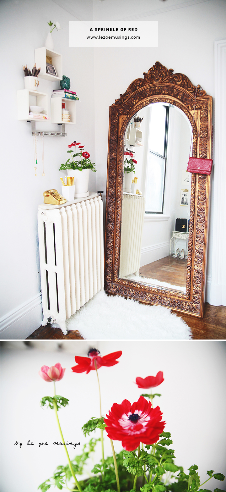 Home Office with Gold Mirror by Le Zoe Musings