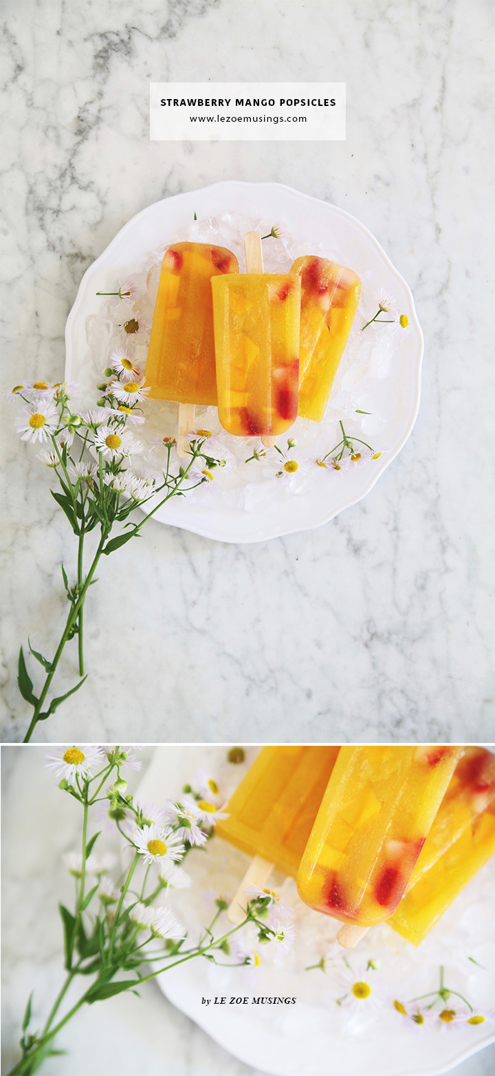 Strawberry Mango Popsicles by Le Zoe Musings