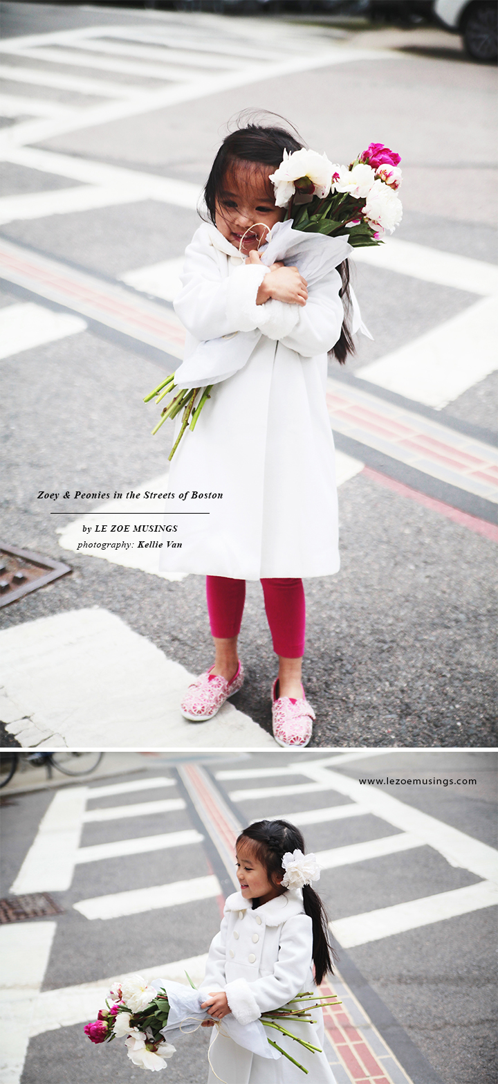 Zoey and Peonies in the Streets of Boston 2 by Le Zoe Musings