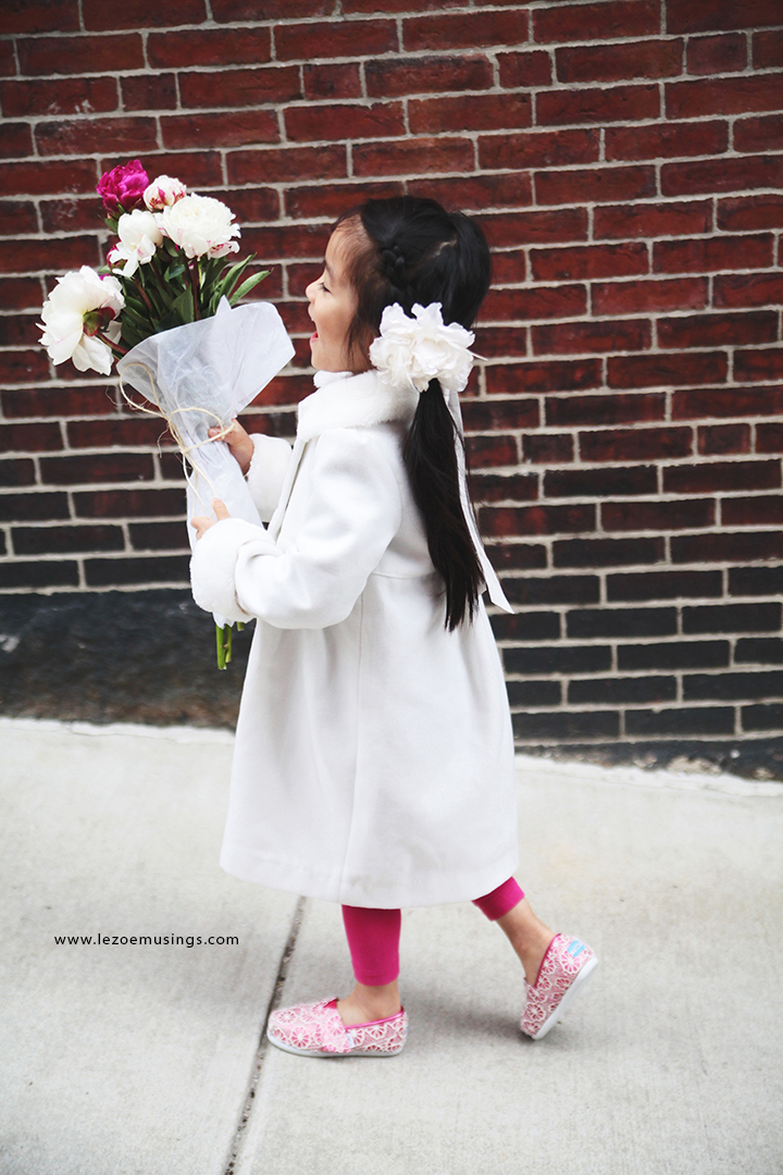 Zoey and Peonies in the Streets of Boston 3 by Le Zoe Musings