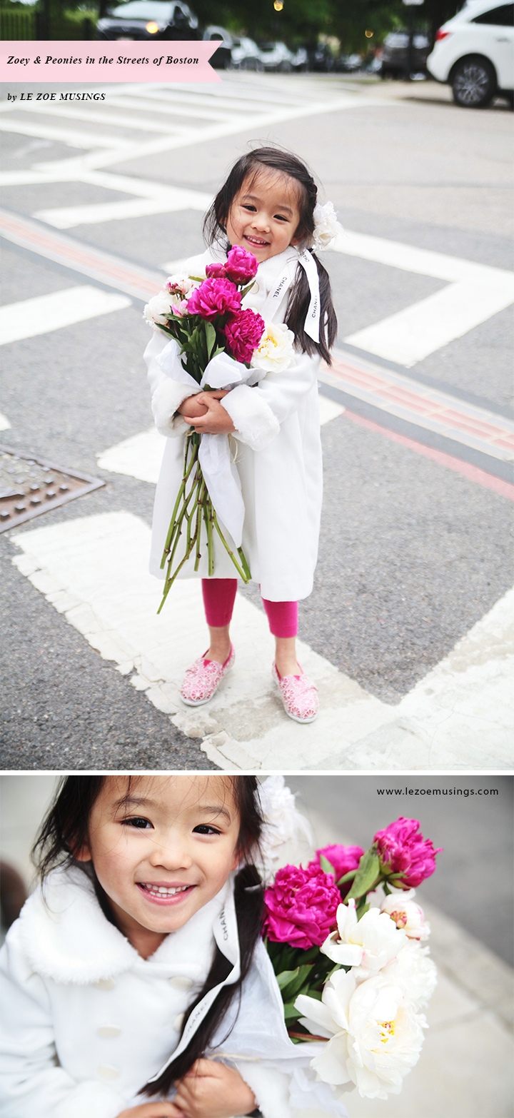 Zoey and Peonies in the Streets of Boston by Le Zoe Musings