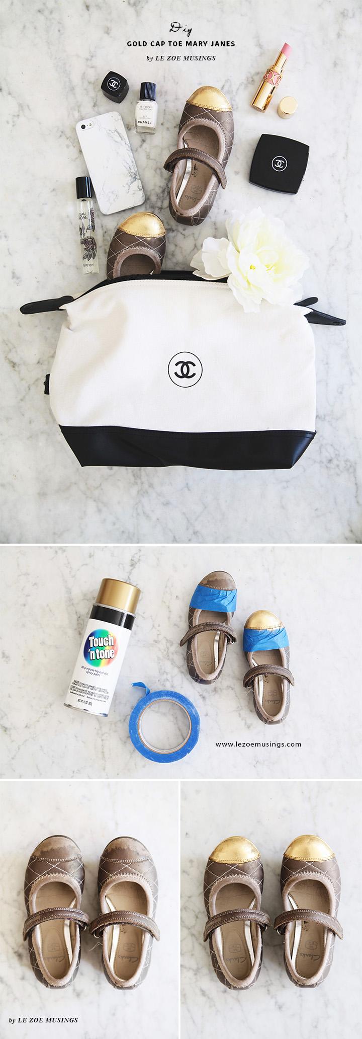 DIY Gold Cap Toe Mary Janes by Le Zoe Musings4