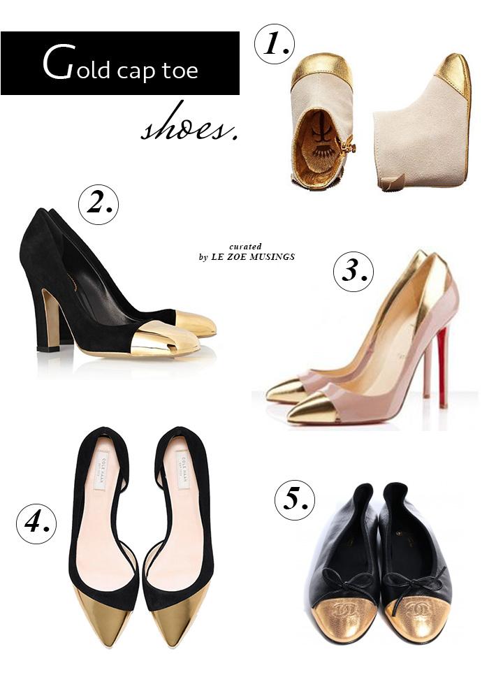 Gold Cap Toe Shoes by Le Zoe Musings