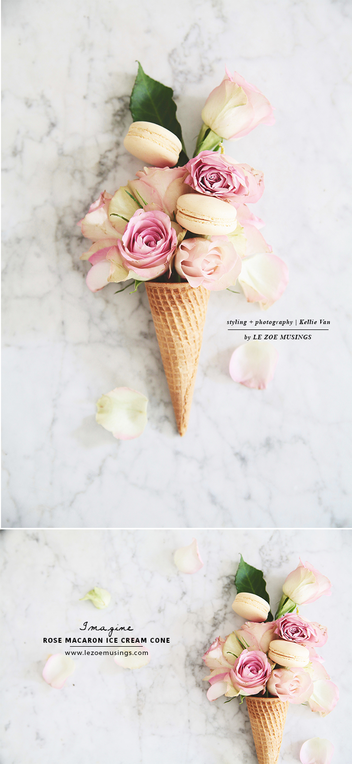 Rose Ice and Macaron ice cream cone by Le Zoe Musings